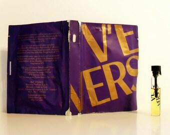 Vintage 1980s V'E by Versace Eau de Parfum Sample Vial, 0.34 oz Body Milk and Shower Gel Sample Packets Set PERFUME