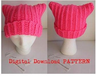 Crochet Pink Pussyhat Digital Download PATTERN/ Cat Ear Hat Pattern / Pattern for Pussyhat  / Pussyhat Project Pattern