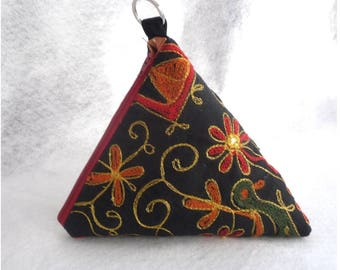 Pyramid bag,triangle Pouch,hippie hand bag,Cosmetic Bag. Accessory pouch, travel bag. Gift idea.