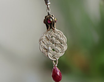 OOAK Celtic Knot Pendant With Ruby Necklace Handmade Vintage Style Fine Silver Jewelry Woven Wire July Birthstone Birthday Gift For Her