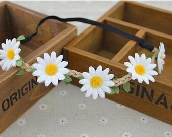 White Daisy Headband, Hippie Headband, Hippie Costume, Daisy Crown, Daisy Flower Crown, Flower Crown, Hippie, Boho, Daisy Chain, Circlet