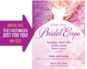Bridal, Wedding, Expo, event, bridal expo, bridal show, show, flyer, invite, printable, poster, customized, invitation, postcard, shower