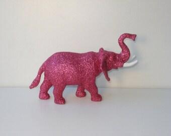 Bright Pink Glitter Elephant - Upcycled Elephant Toy - Good Luck Symbol