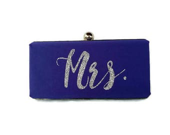 Purple Monogrammed wedding purse/Purple minaudiere clutch /Personalized Gift for her/ Custom made purse/Violet wedding purse/Mrs clutch