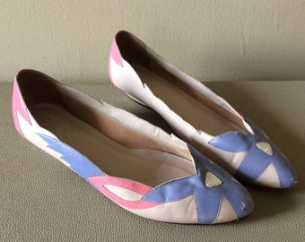 pointed toe applique wedge flats. women's 6 *as is*