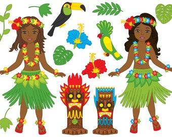 70% OFF SALE Hawaii Girl Clipart - Digital Vector Hawaii, Girl, Luau, Hula, Tiki, Parrot, Aloha Clip Art for Personal and Commercial Us