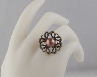 Pearl in a Filigree Cup Ring
