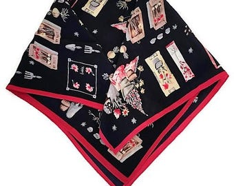 Vintage Talbot Silk Scarf Garden Theme Navy Red Small Kerchief