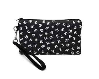 Cute iPhone 7 Wristlet, Galaxy 7 Purse, Padded Large Smartphone Pouch, LG Phone Bag, OnePlus, Nexus - black white dog paw prints