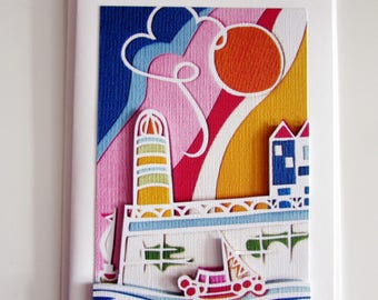 Papercut art lighthouse by the sea 3D blank greeting card