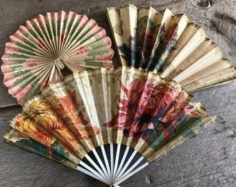 1920s French Hand Fans, Decorative, Fete Fans, Celebration Party Decor, Fan Collection