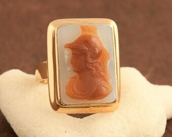 Antique 14 Karat Gold Sardonyx Cameo Ring Of Minerva