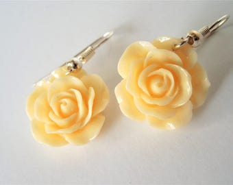 Pale Yellow Earrings, Rose Earrings, Yellow Rose, Texas, Easter Style, Easter Jewelry, Simple Jewelry,