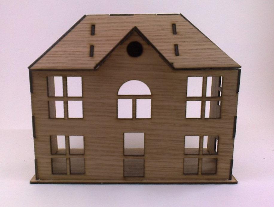 Wooden Dollhouse Victoran Small House Oak Plywood Kit