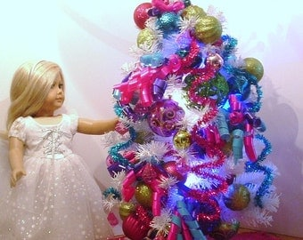 Christmas Tree Loaded with Ornaments for American Girl Dolls