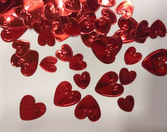mix of shinny Embossed Hearts confetti / sequins, 8-13 mm (35)