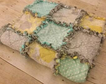 Custom Made Crib/Toddler Size Rag Quilt - Giraffe & Koala