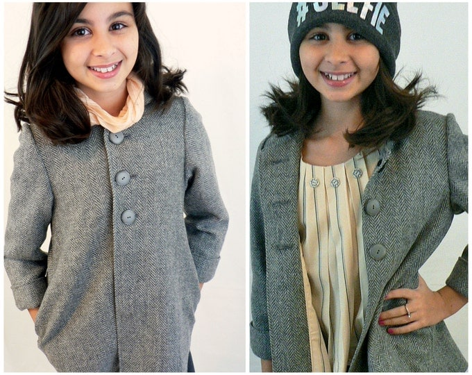 Pea Coat Dakota - PDF Sewing Pattern, video instructions, collar, girls jacket, jacket, swing coat, lined collar, pdf sewing pattern