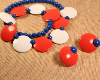 Avon Colorworks Red White and Blue Choker with Matching Red and Blue Clip Earrings - Vintage 1987