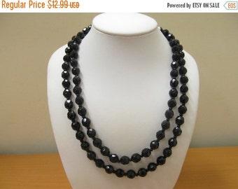 On Sale Vintage Black Facetted Glass Beads Item K # 2180