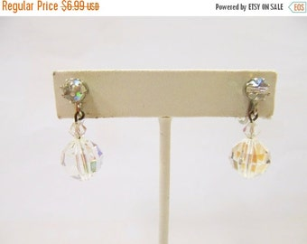 On Sale Vintage Aurora Borealis Crystal Dangle Earrings Item K # 1280