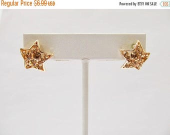 On Sale Retro Spakling Champagne Rhinestone Star Earrings Item K # 294