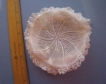 19thc Baby or Doll Tiny Antique Vintage Knitted Lace Beret - Flat Hat