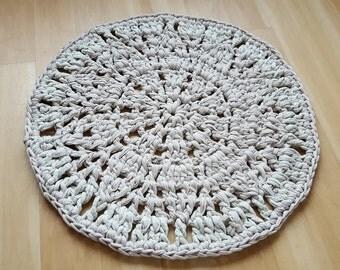 "25""/63.5cm Ivory Doily Crocheted Rug"