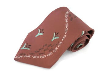 Rayon Necktie Brown with Painted Detail by Signet   New with Tags from Strawbridge & Clothier  MCM Rockabilly