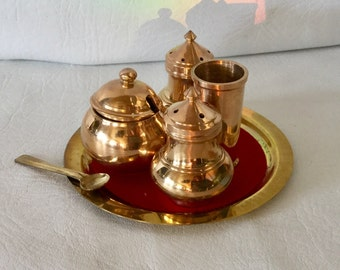 Vintage Copper / Brass  condiment  or Cruet set with Salt Pepper and Mustard pot on serving tray,