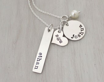 Personalized Jewelry - Hand Stamped Name Charms - Family Charms - Mother's Necklace