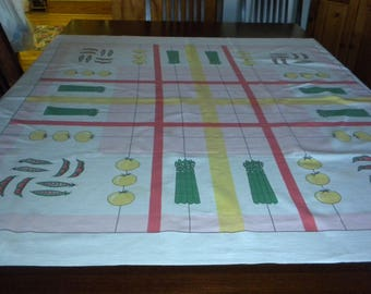 Vintage tablecloth fun vegetables asparagus beans tomatos pink green yellow coral