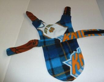 """XXS XLong - NY Knicks Plaid Fleece Dog Coat in Blue, Black, Orange and White (Extra Extra Small - Extra Long 13"""")"""