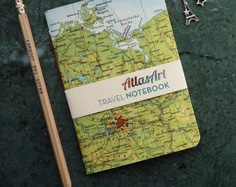 NOTEBOOK SMALL Germany, Berlin, Island of Ruegen, Baltic Sea, 4x5,8 inch, 32p. blank/ruled, journal, diary, map, vintage, upcycling