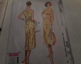 Vintage 1950s McCall's 4137 Dress Sewing Pattern, Size 16 Bust 36