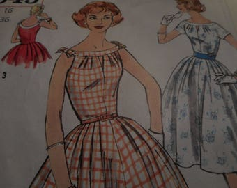 Vintage 1950's Simplicity 2545 Dress Sewing Pattern, Size 16 Bust 36
