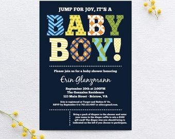 Baby Boy Typography Shower Invite - Colorful Patterns and Jumbo Letters - Digital File OR Printed Invitations