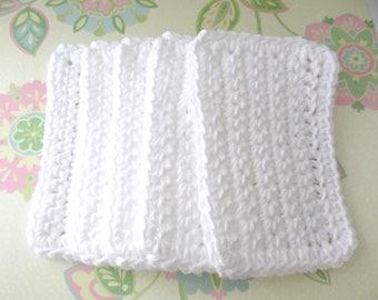 Crochet Cotton Sponges - Set of 5 - White Reusable Sponges - Mini Face/Dish Cloths- Eco Friendly - Green Gift - 100% Cotton - Ready to Ship
