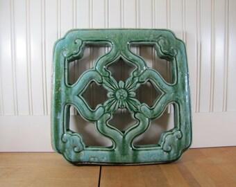 Large Asian Architectural Tile Salvage, Tile, Asian, Salvage, Architectural Tile, Architectural Salvage, Vintage, Antique, Green, Quadrefoil