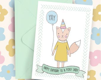 Foxy Lady or Guy Woodland Whimsy Happy Birthday A5 greeting card