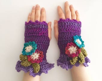 Floral Arm Warmers, Mother's Day Gift, hand warmers, Purple, Pink, Blue, Green arm warmers, hand painted merino wool