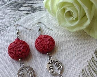 Carved Floral earrings