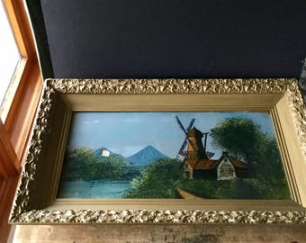 Antique Reverse Painting, Reverse Glass Painting, Wind Mill Windmill, Vintage Painting, Antique Painting, Ornate Wooden Frame, Framed Art