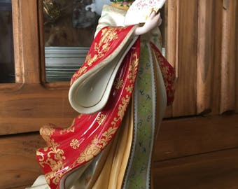 """Jade Empress 10-1/2"""" Porcelain Figurine by Sculptor Lena Liu, produced by The Danbury Mint in the 1980s"""