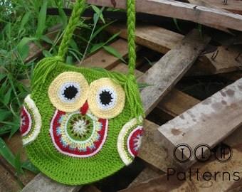 CROCHET BAG PATTERN, crochet owl bag pattern, crochet owl purse, Funky owl bag, Pattern No. 14