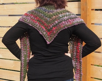 Rose garden shawl, pink, lavender, gray, and olive green crocheted scarf