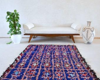 "ISLAND BORN 6'3"" x 4' Boucherouite Rug. Tapis Moroccan Berber. Mid Century Modern Design Compliment. P81"