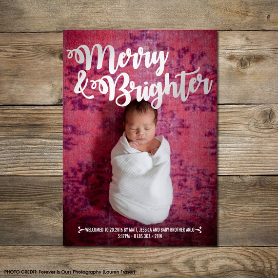 Photo Christmas Card : Faux Gold/Silver Foil Merry & Brighter Photo Holiday Card Printable