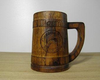 Wooden Beer mug ,Custom engraving, 0,8 l (27oz) , natural wood, stainless steel inside,groomsmen gift, n20