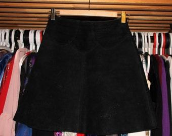Black is Black-60's Black Suede Hippie A-Line Mini Skirt